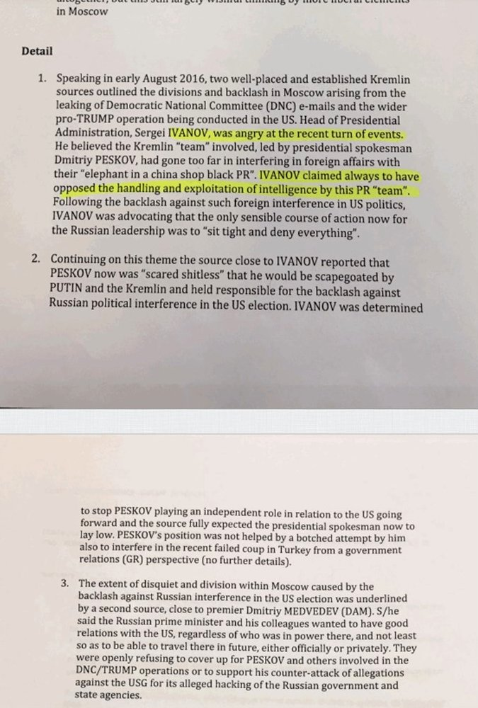 Screen cap of purported dossier on Donald Trump. (Dossier hosted at BuzzFeed.)