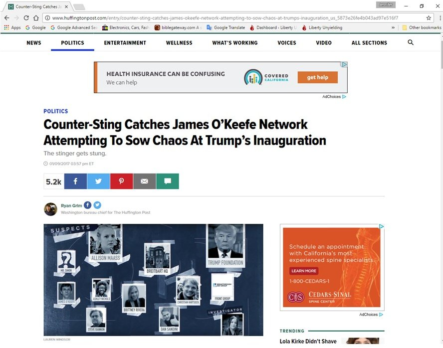 Screen cap of Huffington Post article claiming Veritas' James O'Keefe has been counter-stung.