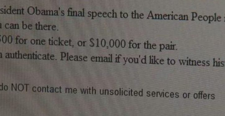 'Free' tickets for Obama farewell speech being scalped for thousands on eBay, Craigslist