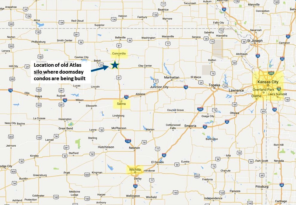 There are about haf a dozen old Atlas missile silos in Kansas This one corresponds to Burgess's description. (Google map; author annotation)