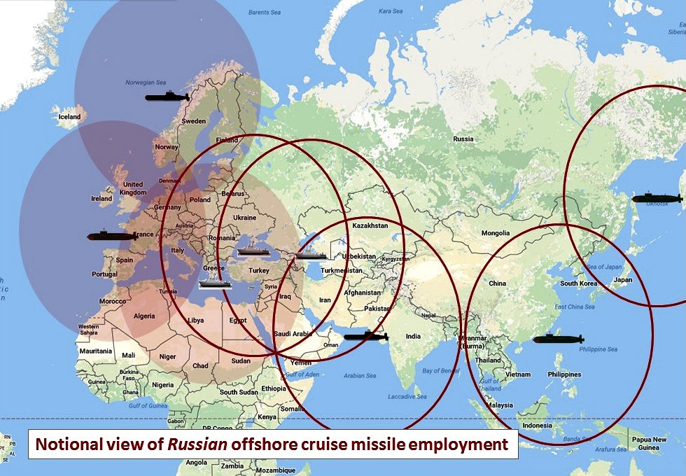 A view of what Russia might want to do, to bring cruise missiles to bear on a fight in the Eurasian land mass. Besides being difficult to bring off, this deployment of assets is inadequate to Russia's needs in such a fight. The launch platforms could be older Akula submarines, newer Borei submarines with the Kaliber SLCM, or newer frigate and destroyer size surface warships with the Kaliber (i.e., in the Black or Caspian Seas). (Google map; author annotation)