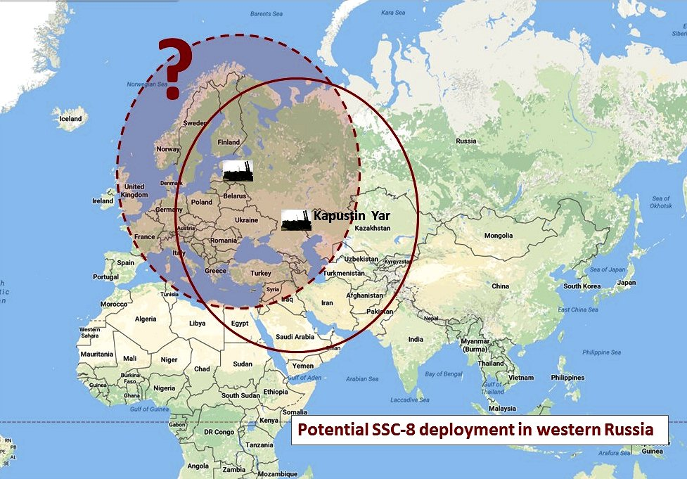 Has the treaty-violating SSC-8 been deployed to western Russia? We don't know. (Google map; author annotation)
