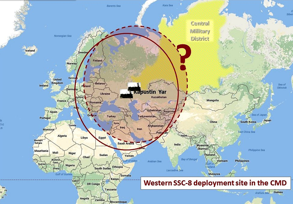It appears least likely that the deployed SSC-8 battalion is on the western side of the CMD. It would basically just replicate the coverage of the battalion in Kapustin Yar. Note: the military districts map (above) is a different projection from the map in this graphic. The size of the CMD looks different, but it isn't. (Google map; author annotation)