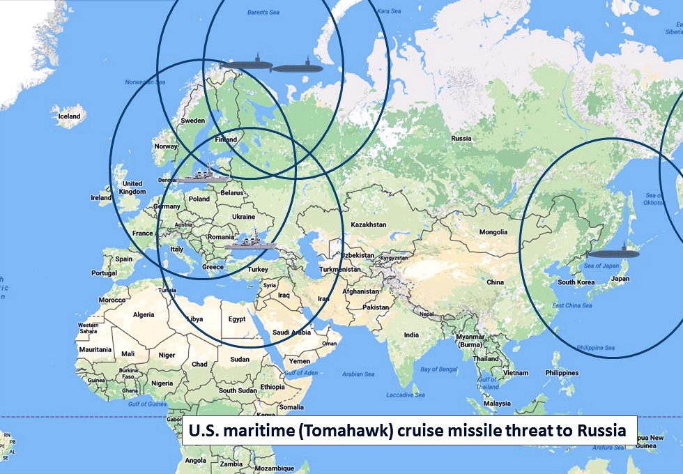 Potential Tomahawk cruise missile coverage in a confrontation with Russia, using submarines and Aegis cruisers and destroyers. (Google map; author annotation)