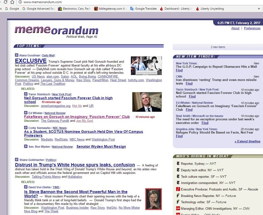 Trending in the MSM on the Memeorandum aggregator site, 2 Feb 2017. (Screen cap by author)