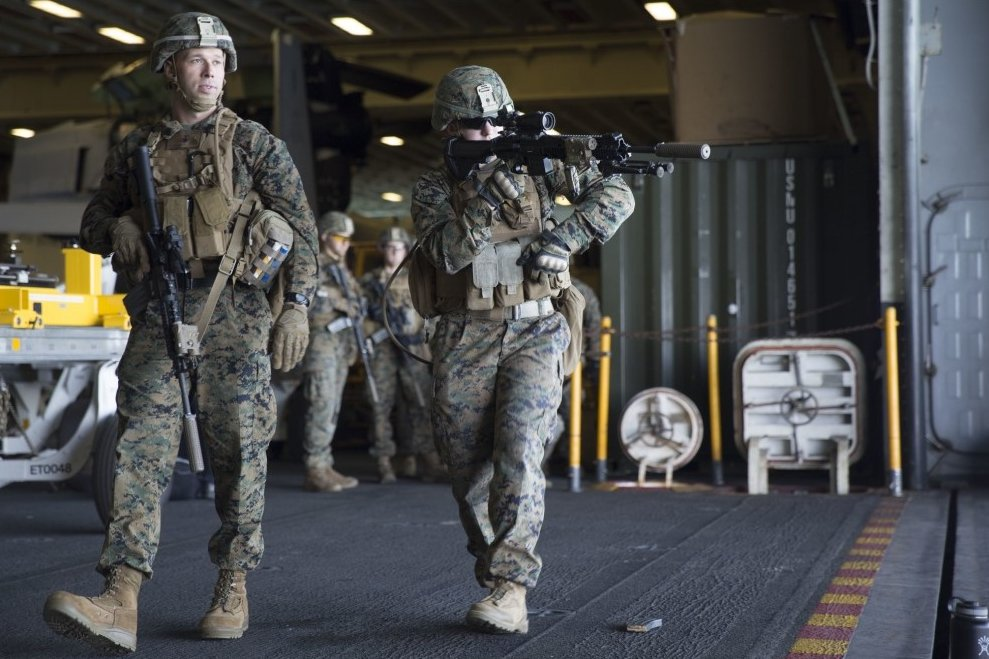 Marines of the 24 MEU on USS Bataan conduct an underway drill in early March, on the way to the Med for their operational deployment. (Image: USMC, Cpl Autmn Bobby)
