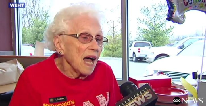 Lifetime achievement: 94-year-old woman celebrates 44 years working at McDonald's