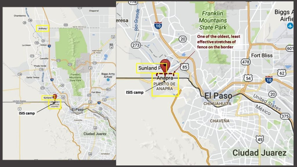Overview of Anapra and Sunland, in relation to El Paso/Ciudad Juarez and Anthony, NM. (Google map; author annotation)
