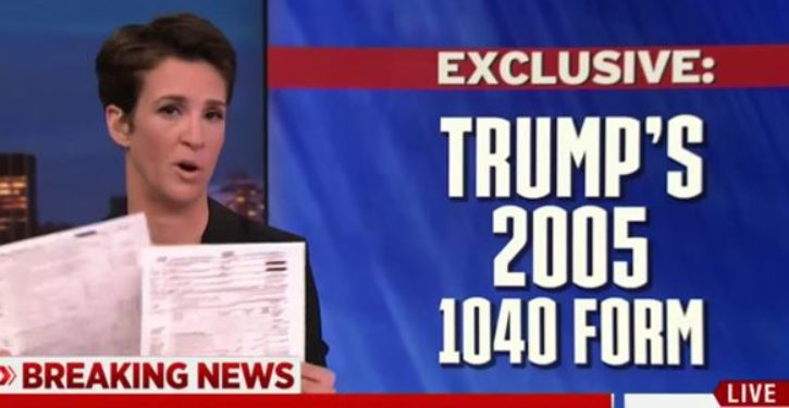 Is Rachel Maddow now in legal trouble for publishing Trump's tax return?
