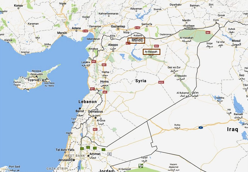 Overview of deployment locations for the Marines (Raqqa) and the Army Rangers (Manbij). (Google map; author annotation)