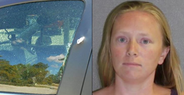 Woman arrested after toddler left in car shoots out window with her loaded handgun