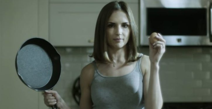 Actress gets out brown and white eggs and frying pan to expose 'drug war's racism'