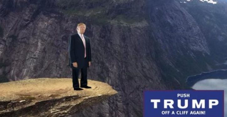 Online game encourages users to 'push Trump off a cliff'