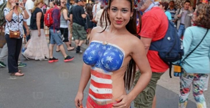 Times Square is being overrun by naked female pandhandlers, most here illegally. The city's response?