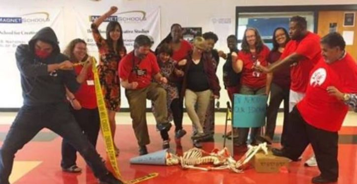 Teachers at public school in Durham stage recreation of toppling of Confederate statue
