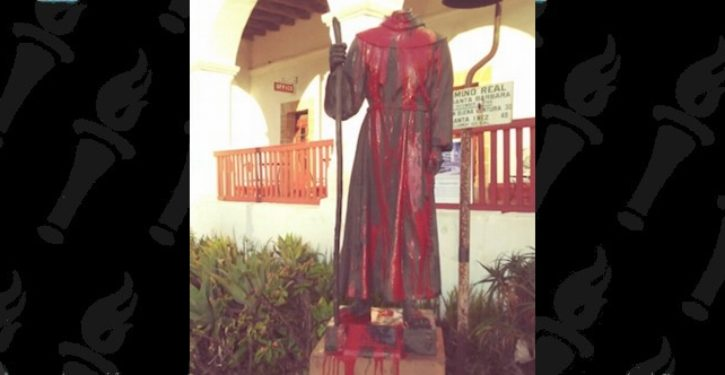 Statue of Catholic saint in California beheaded, splashed with red paint