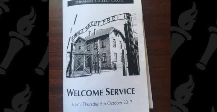 Unreal: Cambridge U. college uses image of Auschwitz death camp on welcome leaflet