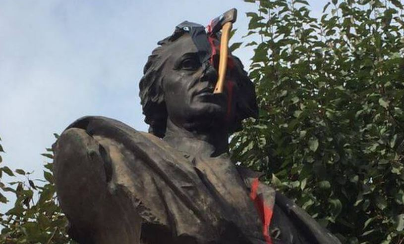 Christopher Columbus statue removed outside Columbus City Hall