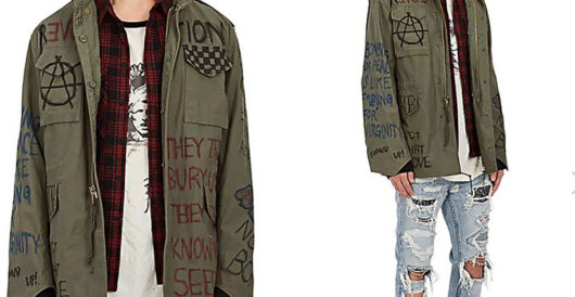 For the liberal who has everything: an Antifa-inspired jacket for a mere $375 by Howard Portnoy