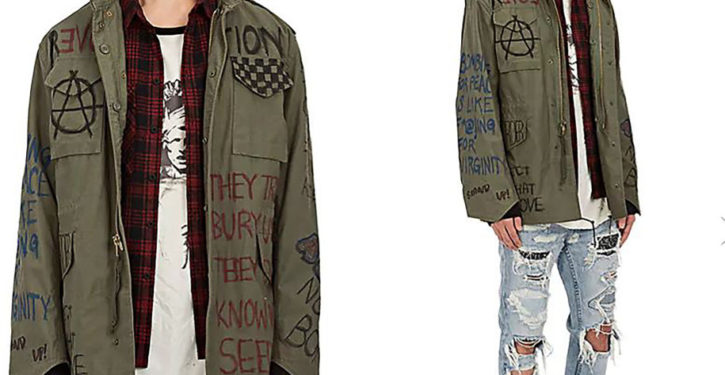 For the liberal who has everything: an Antifa-inspired jacket for a mere $375