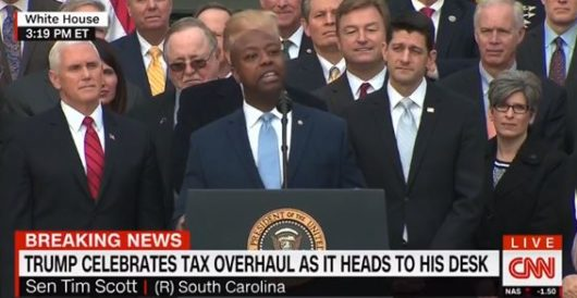 Sen. Tim Scott becomes emotional during speech thanking Trump for bringing about tax reform by LU Staff