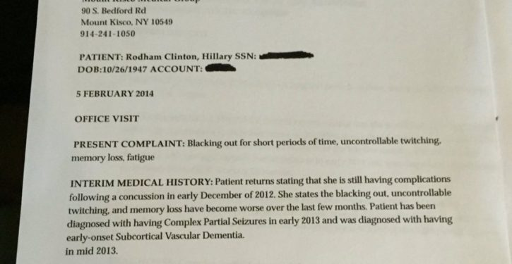 Hillary Clinton's personal doctor lied about how sick she was in 2016