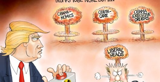 Cartoon of the Day: Trump's yuge nuke button by A. F. Branco