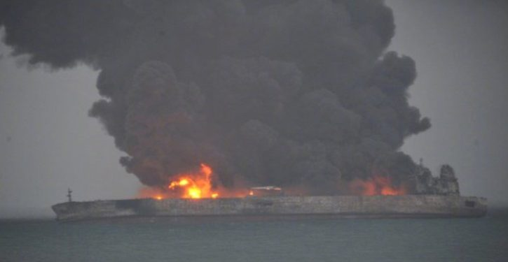Fiery collision at sea off China: Iranian tanker, Chinese freighter; 32 missing