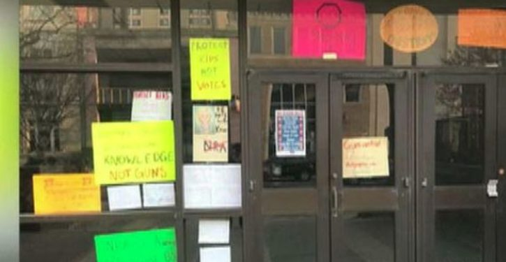 Anti-NRA, anti-GOP signs displayed at Philadelphia elementary school