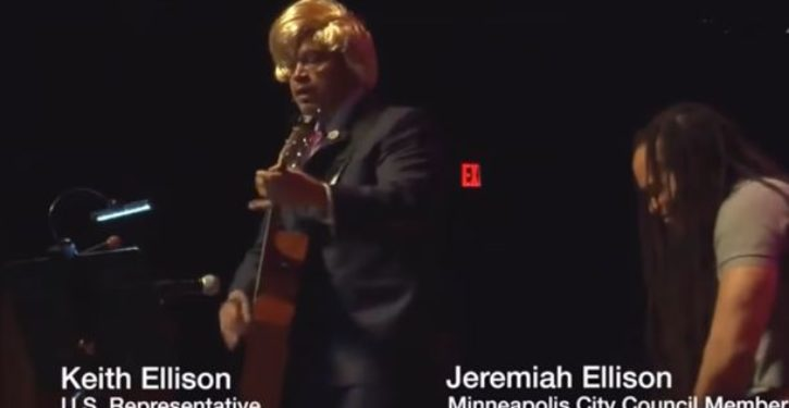 Keith Ellison dons orange wig, sings song mocking President Trump