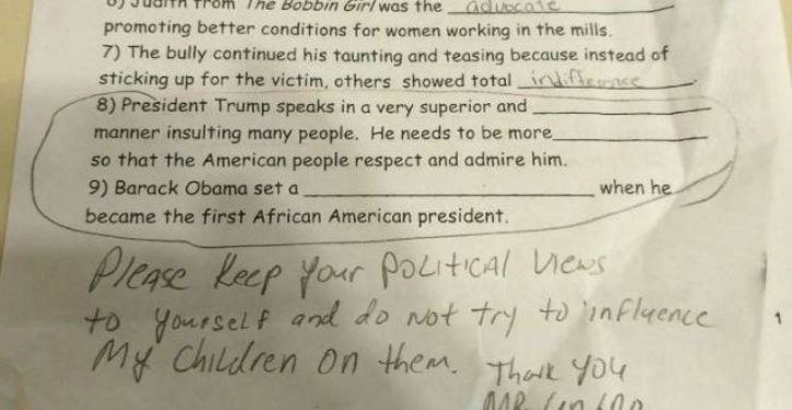 11-year-old docked points on school assignment for not bashing Trump