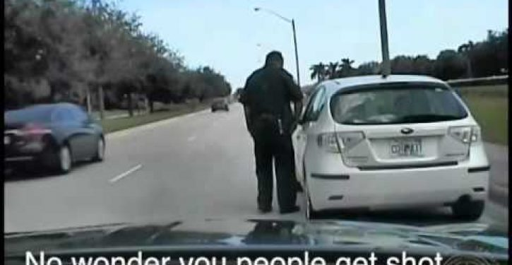 Driver pulled over for speeding tells traffic cop: 'No wonder you people get shot'