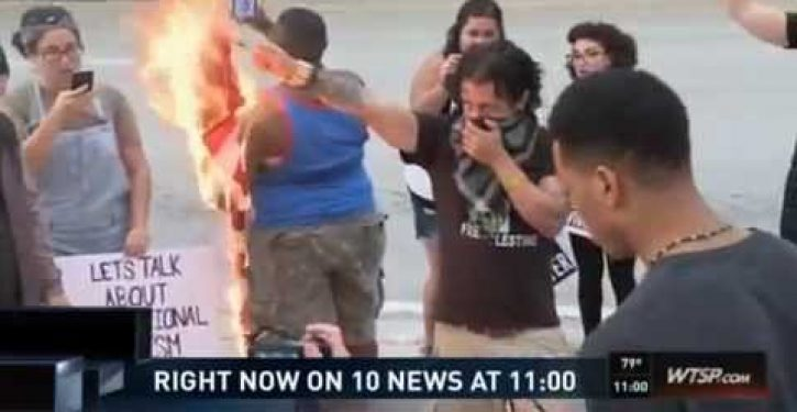#BlackLivesMatter protesters in Tampa set fire to American flag