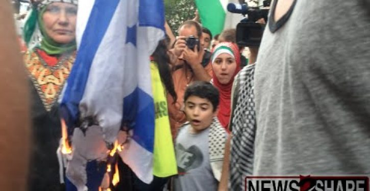 Tweet of the Day: Anti-Israel protesters burn Israel flag … in front of WH (Video)