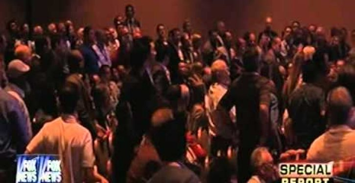 Video: Woman in Las Vegas throws shoe at Hillary Clinton