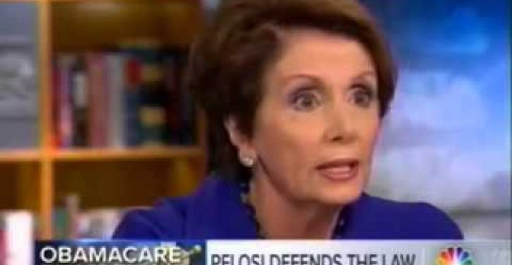 A confused Nancy Pelosi attempts — and fails — to wriggle out of her own Obamacare lie