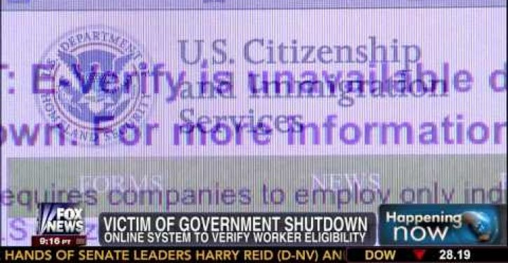 Online gov't program for ferreting out illegal aliens applying for jobs 'down' during shutdown