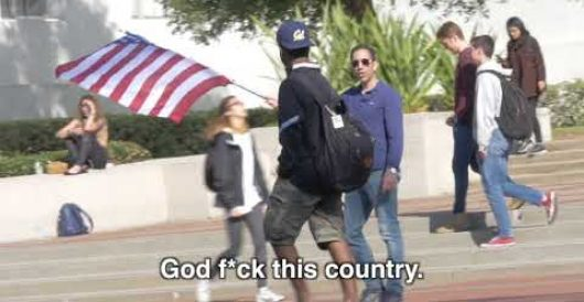 Berkeley students give middle finger salute to U.S. flag, praise ISIS flag by Joe Newby