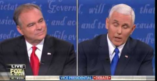 Watch debate moderator cut off Pence when he mentions Hillary's unsecured server by Thomas Madison