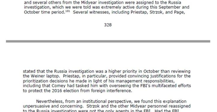 The DOJ IG report makes it pretty clear what the FBI's 'priorities' were in 2016