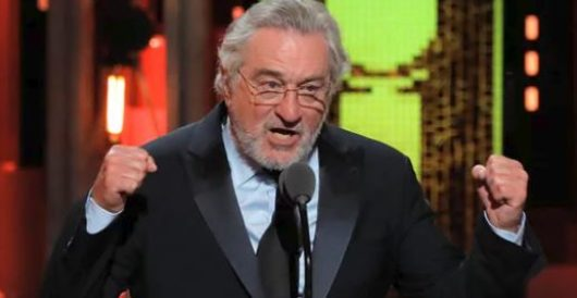 Trump fan unfurls MAGA banner in front of stage at De Niro-directed Broadway play by LU Staff