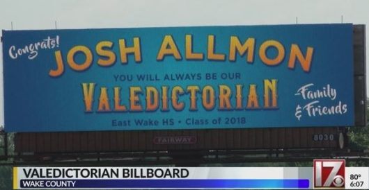 School won't honor top grad as valedictorian, so proud dad does … by erecting billboard by Howard Portnoy