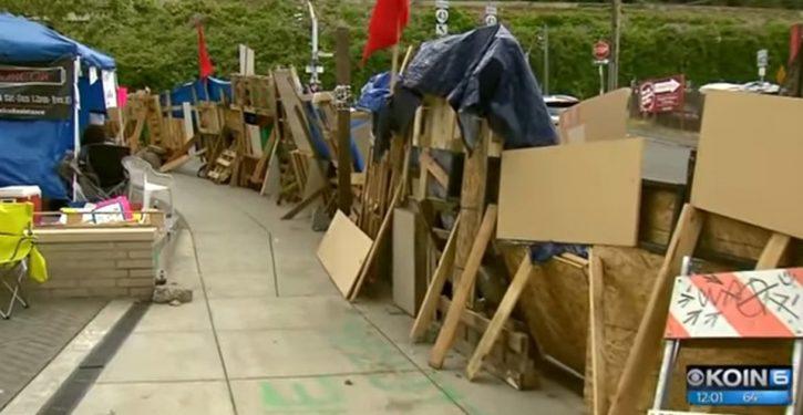 Portland ICE protesters put up border wall at tent camp, set guards, shout racial slurs at cops