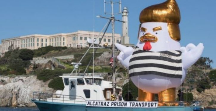 Inflatable 'Trump Chicken' dressed like a prisoner to sail off coast of San Francisco