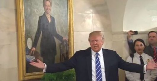 On way to SCOTUS announcement, WH reporters deliberately marched past Hillary Clinton portrait by Rusty Weiss