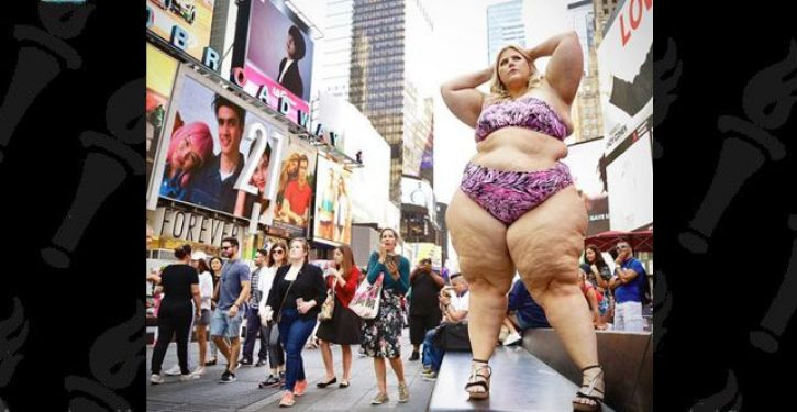 What happens when a fat (er, big boned) women poses in a teeny-weeny bikini in Times Square?