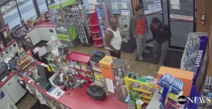 When store clerk collapses in front of them, teens step over him in order to rob the place