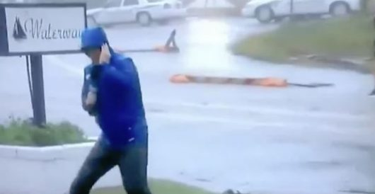 And the Oscar goes to … Weather Channel guy hamming it up to show how fierce winds are by LU Staff