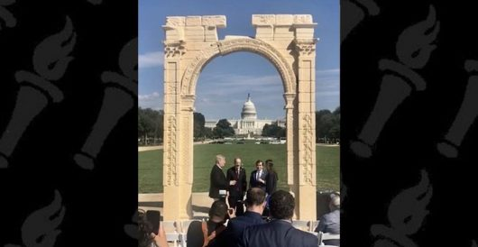 Irony, or symbol? 'Arch of Baal' replica on National Mall framed Capitol Hill during Kavanaugh-Ford hearing last week by J.E. Dyer