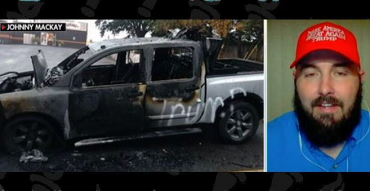 Man's pickup truck allegedly torched over pro-Trump bumper stickers